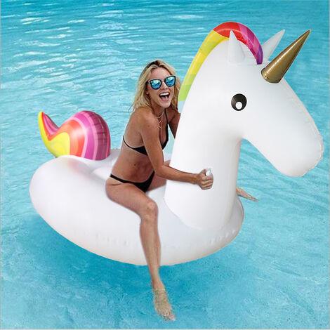 Anillo de natación - inflable de colchón de aire de tumbona flotante de unicornio |Blanco