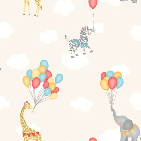 Animal Balloons Wallpaper Holden Kids Cream Giraffe Elephant Animals Clouds