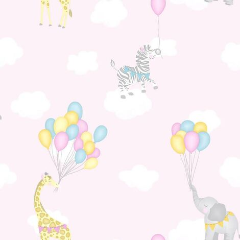Animal Balloons Wallpaper Holden Kids Pink Giraffe Elephant Animals Clouds