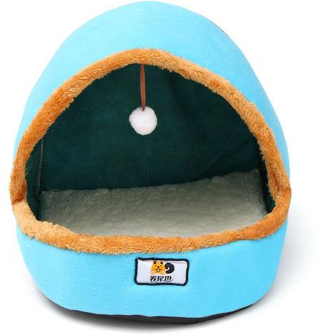 Animal Cama plegable Casa de calentamiento para mascotas Material duradero Suave Nido Perro con bola de piel Almohadilla de piel Azul LAVENTE