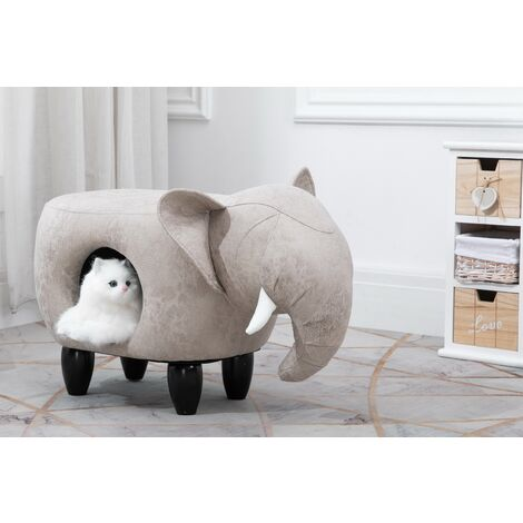Animal Elephant Foot Stool for Kids, Toy Storage Chest / Ottoman / Seat with Cat Hole