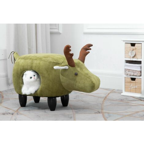 Animal Elk Foot Stool for Kids, Ottoman / Seat with Cat Hole
