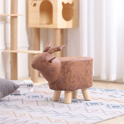 Animal Footstool Foot Rest Stool Padded Pouffe Seat Chair Wood Legs