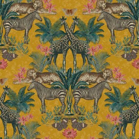 Animal Kingdom Jungle Themed Wallpaper Orche Orange Matt Finish Feature Wall