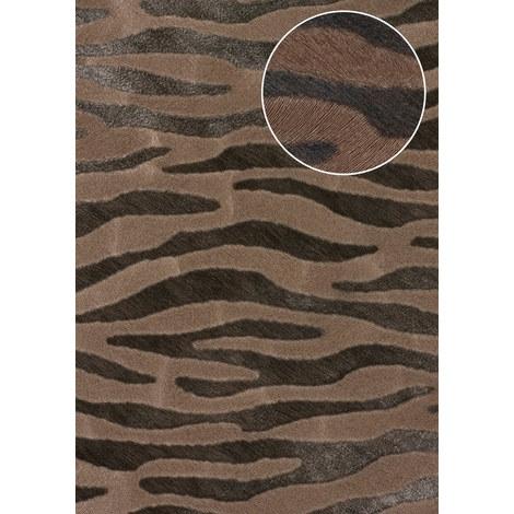 Animal pattern wallpaper wall Atlas SKI-5069-3 non-woven wallpaper embossed with zebra pattern shimmering brown pale-brown beige-brown dark-brown 7.035 m2 (75 ft2)