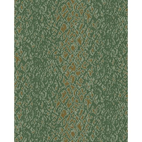 Animal pattern wallpaper wall Profhome DE120128-DI hot embossed non-woven wallpaper embossed with exotic design shiny green gold 5.33 m2 (57 ft2)