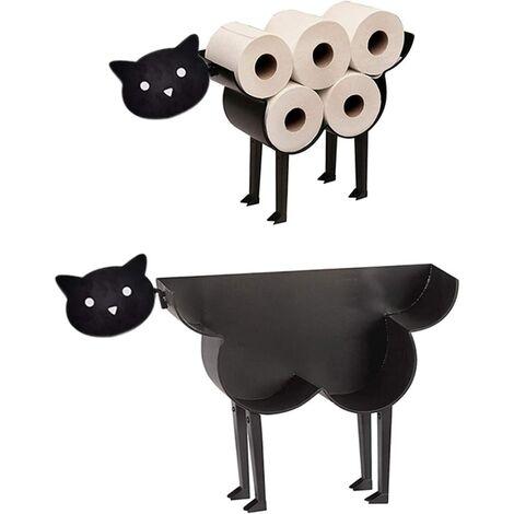Animal Porte Papier Toilette en Métal Noir sur Pieds, Porte-Rouleau de Papier Toilette, Décoratif Innovants en Forme de Mouton / Chaton / Chien (Chaton)
