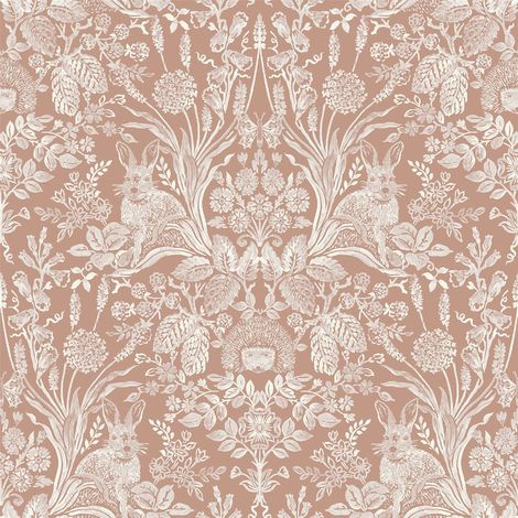 Animal Print Floral Wallpaper Flowers Hedgehogs Rabbits Butterflies Rose Gold