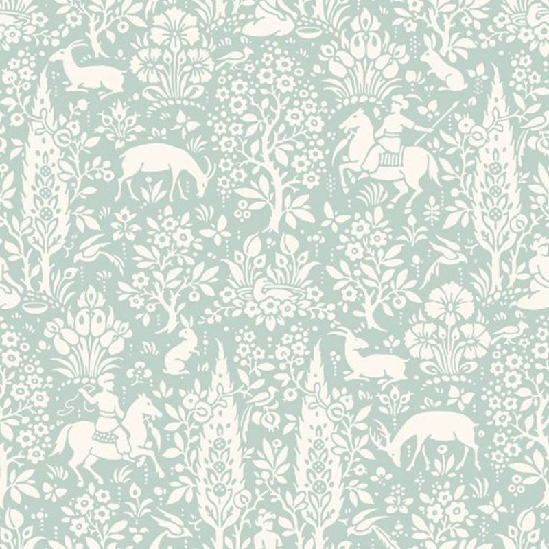 Image of Animal Print Wallpaper Woodland Rabbits Dears Flowers Floral Birds Duck Egg