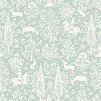 Animal Print Wallpaper Woodland Rabbits Dears Flowers Floral Birds Duck Egg