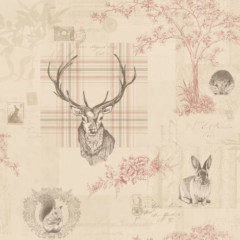 Animal Print Wallpaper Woodland Stag Rabbit Trees Flowers Cranberry Linen