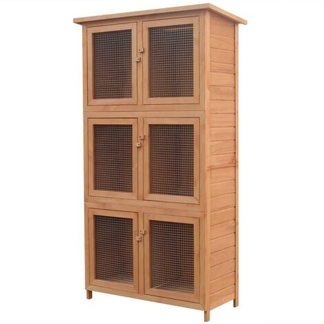 Animal Rabbit Cage 6 Rooms Wood - Brown