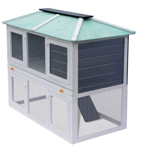 Animal Rabbit Cage Double Floor Wood
