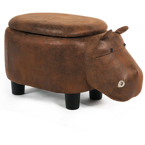Animal Storage Ottoman Foot Rest Stool Padded Seat Upholstered Ride-on Ottomans