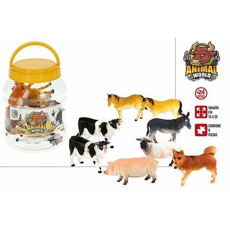 Animales Bote con 8 Accesorios Infantiles, Figuras de Animales Granja. Juguetes para niños 15x20 cm