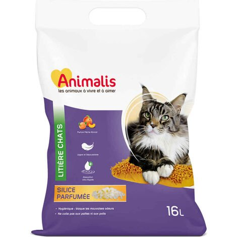 Animalis - Litière Silice Parfumée Pêche et Abricot pour Chat - 16L