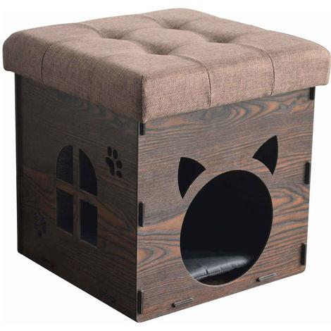 Animalis - Niche Pouf Déco en Bois pour Chat