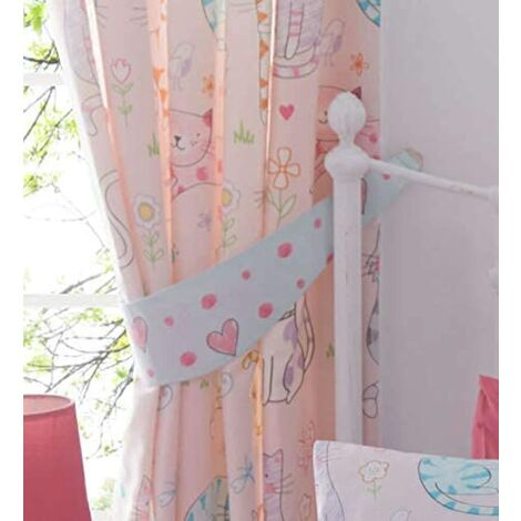 ANIMALS Cats, Girls Pink Curtains 72s