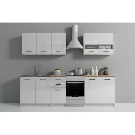 ANINE | Cuisine Complète Modulaire + Linéaire L 200 cm 6 pcs | Plan de travail INCLUS | Meubles cuisine | Finition gloss | Blanc - Blanc