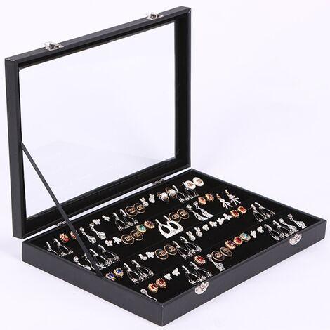 Anneau boucle d'oreille et goujons organisateur boîte à bijoux pour adolescentes affichez vos bagues et boucles d'oreilles stockage de bijoux et boîte de présentation pour dressing ou voyage