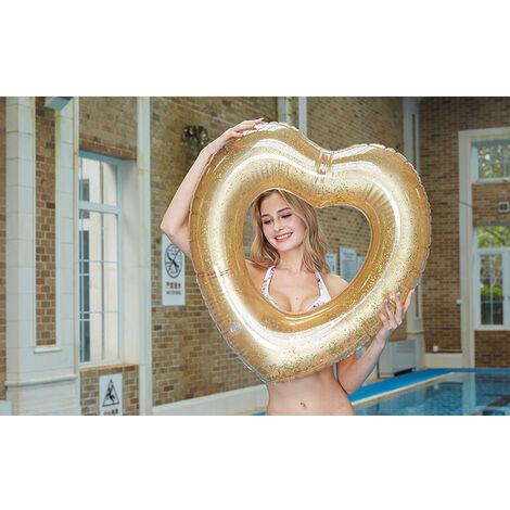 Anneau de Natation Bague De Natation Flottante Bouée Gonflable Rose Swim Ring Bouée de Piscine pour Adultes et Bouée d'été Eau Jouet Fête de Piscine 120CM,a