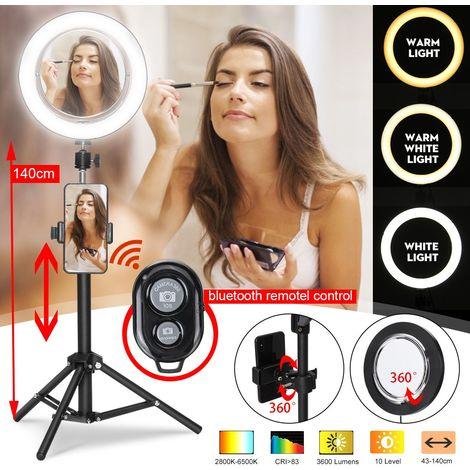 Anneau Lumière d'appoint Beauté Dimmable 3 Eclairages et Miroir de Maquillage + Selfie Bluetooth Télécommande Hasaki
