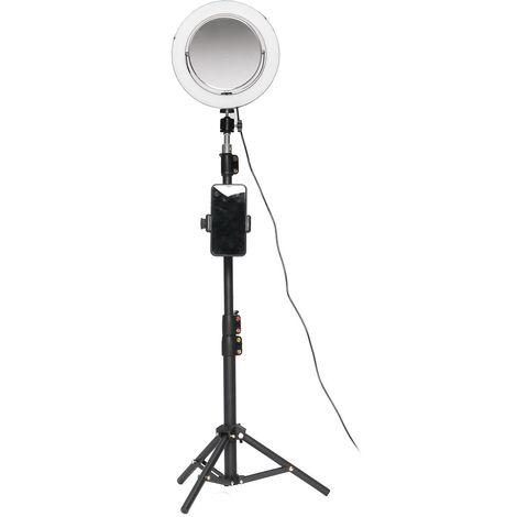 Anneau Lumière D'Appoint Beauté Dimmable 3 Éclairages Et Miroir De Maquillage + Selfie Bluetooth Télécommande Hasaki