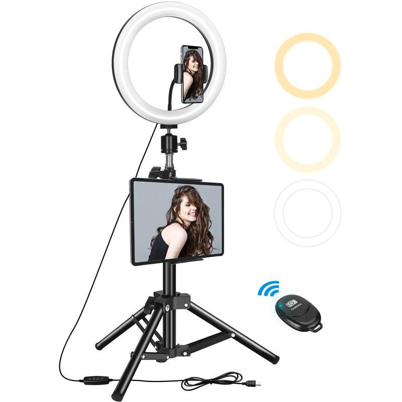 Augienb - Anneau lumineux avec support, kit d'éclairage vidéo pour trépied lumineux annulaire LED 10' avec support lumineux réglable de 134 cm,