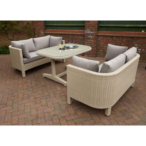 Annecy 2 Seater Sofa Lounge Set with Ice Cooler Table