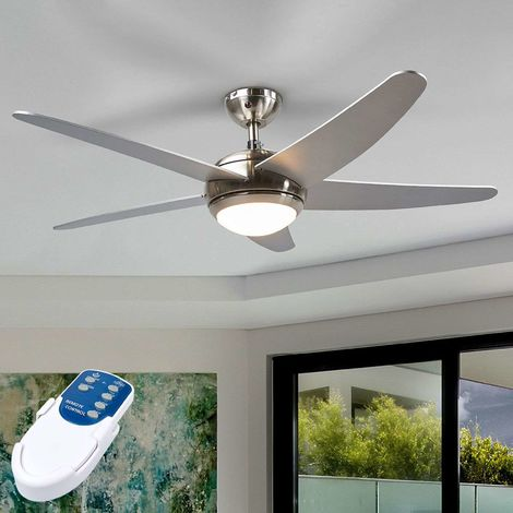 Anneka silver ceiling fan with light