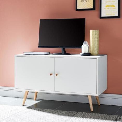 ANNETTE Meuble TV scandinave decor blanc + pieds en bois massif - L 90 cm -  Generique