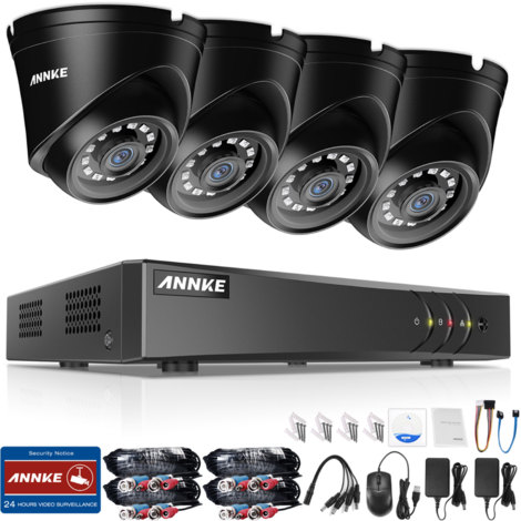 ANNKE 1080P 4CH CCTV Camera DVR System 4pcs IP66 Waterproof 2.0MP HD-TVI Black Dome Cameras Home Video Surveillance Kit