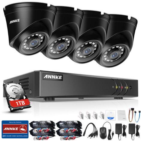ANNKE 1080P 4CH CCTV Camera DVR System 4pcs IP66 Waterproof 2.0MP HD-TVI Black Dome Cameras Home Video Surveillance Kit