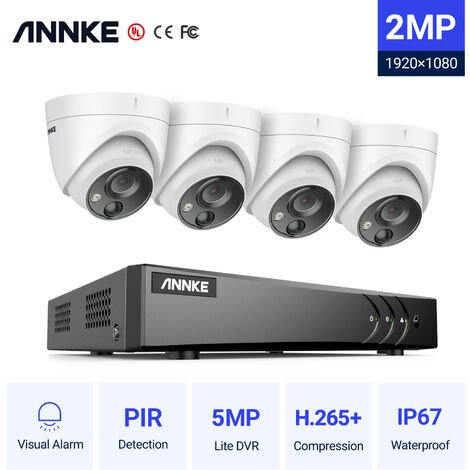 ANNKE 1080P 4CH CCTV Camera DVR System 4pcs IP66 Waterproof 2.0MP HD-TVI White Dome Cameras Home Video Surveillance Kit
