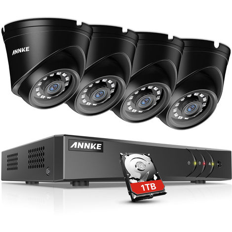 ANNKE 1080P 8CH CCTV Camera DVR System 4pcs IP66 Waterproof 2.0MP HD-TVI Black Dome Cameras Home Video Surveillance Kit