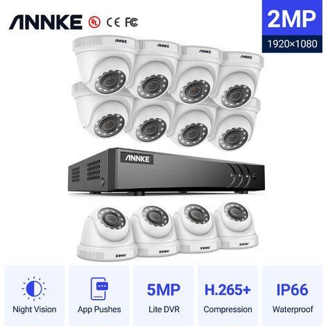 ANNKE 16CH 1080P Lite CCTV System 1080P DVR Kit 12pcs 2.0MP Outdoor Security Cameras System IR night Video Surveillance Kit ヨ No hard drive