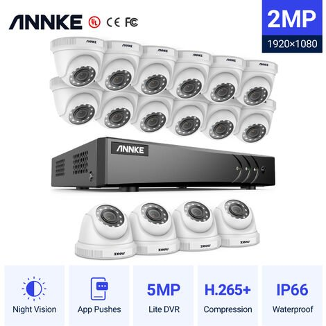 ANNKE 16CH 1080P Lite CCTV System 1080P DVR Kit 16pcs 2.0MP Outdoor Security Cameras System IR night Video Surveillance Kit ヨ No hard drive