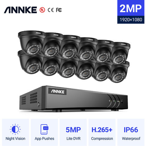 ANNKE 16CH 1080P Lite CCTV System 12pcs 2.0MP Outdoor Security Dome Cameras IR night Video Surveillance CCTV Kit - No hard drive