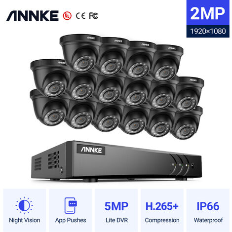 ANNKE 16CH 1080P Lite CCTV System 16pcs 2.0MP Outdoor Security Dome Cameras IR night Video Surveillance CCTV Kit - No hard drive