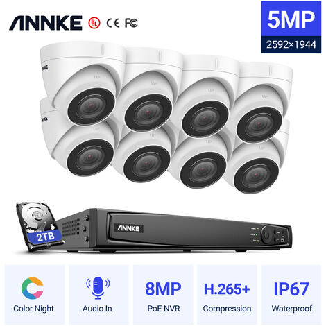 ANNKE 16CH POE CCTV Security Systems Network Super HD PoE 5MP 8PCS Cameras ヨ 0TB Hard Drive