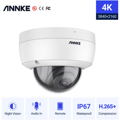 ANNKE 1PC 4K 8MP PoE Ultra HD Dome CCTV IP Security Camera H.265 100 ft Starlight Smart EXIR Night Vision IP67 Weatherproof Outdoor/Indoor Surveillance Camera
