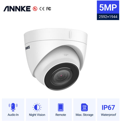 ANNKE 1PC Ultra FHD 5MP POE IP Camera Outdoor Indoor Waterproof Security Network Bullet Night Vision Email Alert Camera