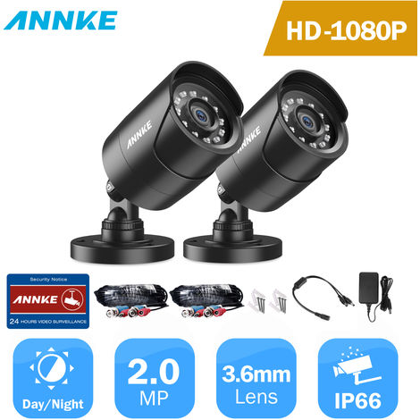 ANNKE 2PCS 1080P Surveillance Cameras 2MP IP66 Waterproof Indoor Outdoor CCTV Camera Kit 30m Night Vision with Smart IR Cam