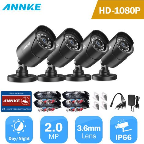 ANNKE 2PCS 1080P Surveillance Cameras 2MP IP66 Waterproof Indoor Outdoor CCTV Camera Kit 30m Night Vision with Smart IR Cam
