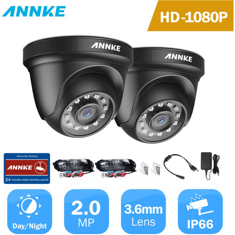 ANNKE 2PCS 1080P Surveillance Cameras 2MP IP66 Waterproof Indoor Outdoor CCTV Camera Kit 30m Night Vision with Smart IR Cam Black