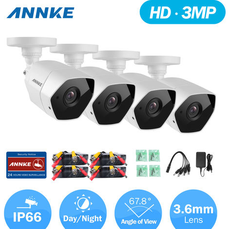 ANNKE 3MP 1920*1536 HD-TVI Security Camera 4pcs Bullet Kit Outdoor Metal Weatherproof Housing 66ft 30m Super Night Vision