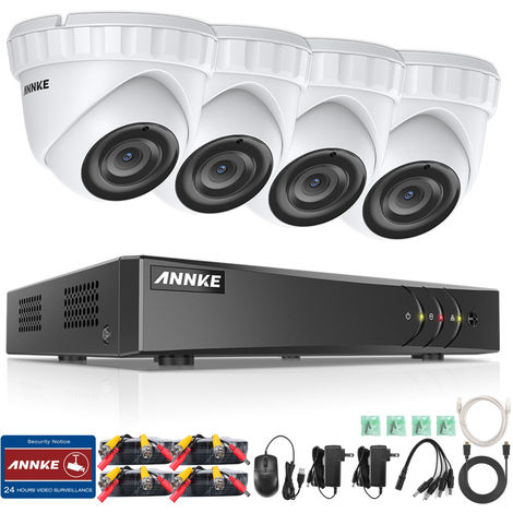 ANNKE 4-Channel 3MP 5-in-1 CCTV Camera System H.265 DVR and 4 × 3MP HD Weatherproof Dome Cameras