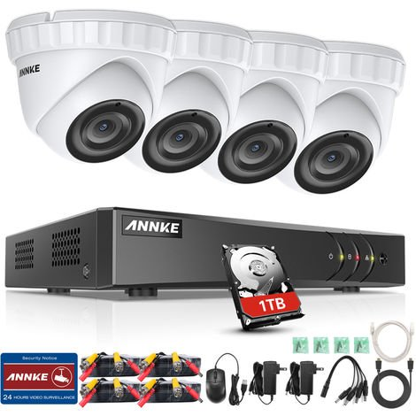 ANNKE 4-Channel 3MP 5-in-1 CCTV Camera System H.265 DVR and 4 × 3MP HD Weatherproof Dome Cameras – 0TB Hard Drive
