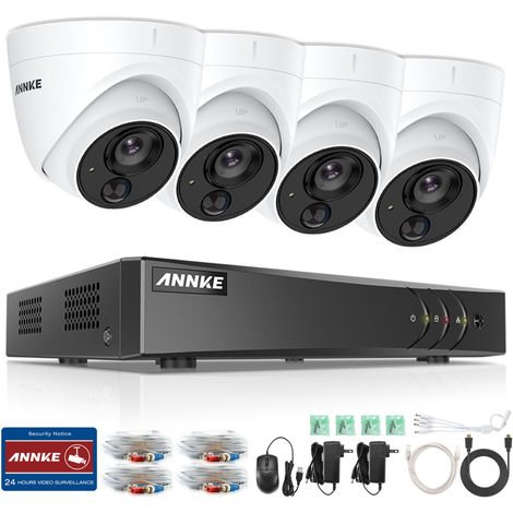 ANNKE 4-Channel 5MP 1 H.265 + DVR and 4 × 1080P HD Dome PIR Camera 4CH CCTV Camera System
