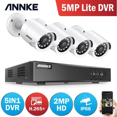 ANNKE 4-Channel H.265 3MP 5-in-1 CCTV Camera System + 4 HD 1080x Starlight DE-Noise HD Weatherproof Cameras